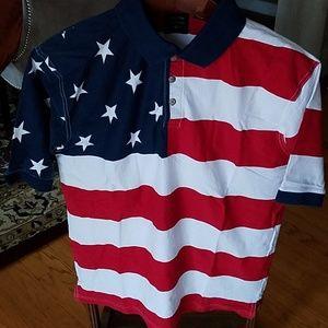 US Stars Stripes Flag Polo Shirt Medium